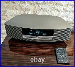 Bose Wave Music System Radio AM FM CD Player Alarm with Remote SILVER WORKS GREAT