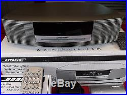GORGEOUS SILVER BOSE WAVE RADIO MUSIC SYSTEM WithCD PLAYER+REMOTE+ IPOD DOCK+BOX
